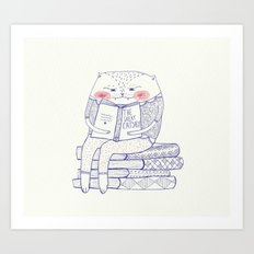 book cat Art Print