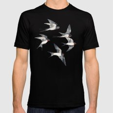 Blue Sky Swallow Flight Black Mens Fitted Tee LARGE