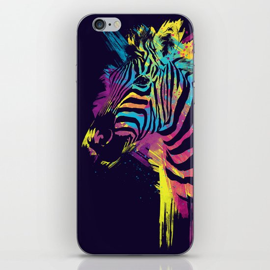 Zebra Splatters Colorful Animals iPhone & iPod Skin