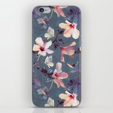 Butterflies and Hibiscus Flowers - a painted pattern iPhone & iPod Skin