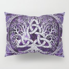 Tree of life with Triquetra Amethyst and silver Pillow Sham