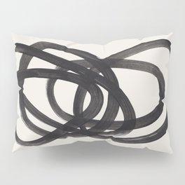 Mid Century Modern Minimalist Abstract Art Brush Strokes Black & White Ink Art Spiral Circles Pillow Sham