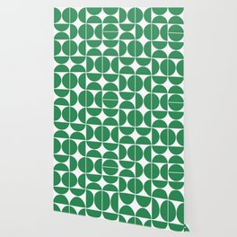 Mid Century Modern Geometric 04 Green Wallpaper