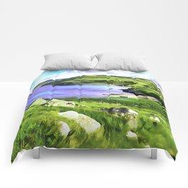 Torr Head View, Ireland. (Painting.) Comforters