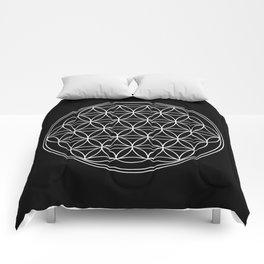 Flower of life on black Comforters