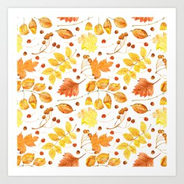 Watercolor autumn leaves seamless pattern on white background. Maple leave, hawthorn leave, birch le Art Print
