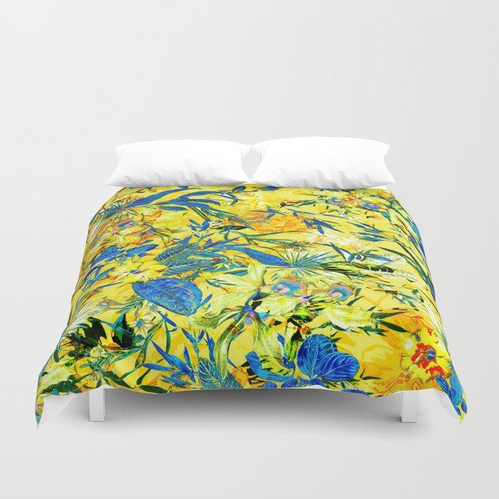 yellow tropical Duvet Cover