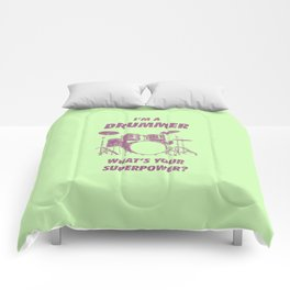 I'm Drummer What's Your Superpower Funny Drums Vintage Drumming Distressed Comforters