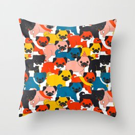 COLORED PUGS PATTERN no2 Throw Pillow