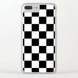 Black White Checker Clear iPhone Case