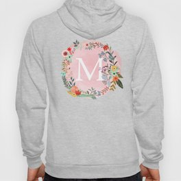 Flower Wreath with Personalized Monogram Initial Letter M on Pink Watercolor Paper Texture Artwork Hoody