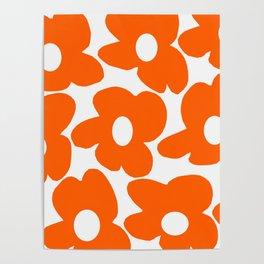 Orange Retro Flowers White Background #decor #society6 #buyart Poster