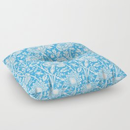 "William Morris Floral Pattern | ""Pink and Rose"" in Turquoise Blue and White Floor Pillow"
