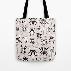 Creepy grunge insect and spider illustration pattern print Tote Bag
