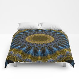 Mandala in golden and blue tones Comforters