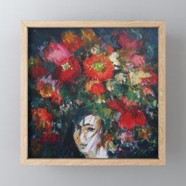 portrait with a big wreath of flowers, acrylic painting Framed Mini Art Print