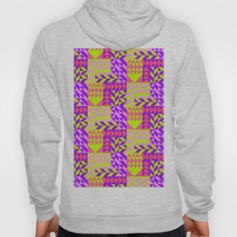 Geometrical abstract pink lilac neon yellow triangles pattern Hoody