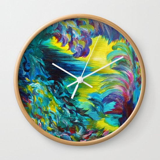 FLIGHT ON TAP - Whimsical Colorful Feathers Fountain Peacock Abstract Acrylic Painting Purple Teal Wall Clock