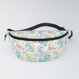 Watercolor Png Dinosaurs Hand Drawn Illustration Pattern Fanny Pack