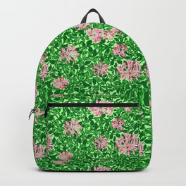 William Morris Honeysuckle, Pink and Emerald Green Backpack