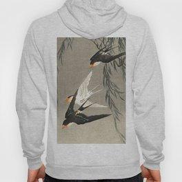 Red tailed swallows in flight - Japanese vintage woodblock print art Hoody