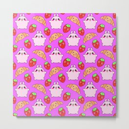 Cute happy funny pink baby bunnies, sweet adorable yummy Kawaii croissants and red ripe summer strawberries cartoon colorful pastel pattern design Metal Print