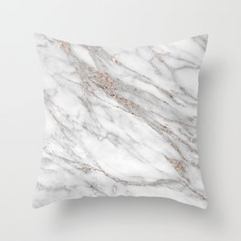 Pink Rose Gold Blush Metallic Glitter Foil on Gray Marble Throw Pillow