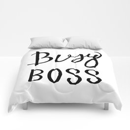 Busy boss Black and white hand lettering Comforters