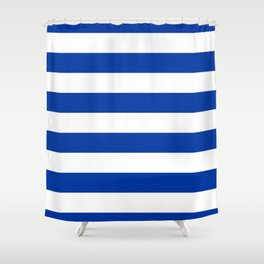 Dark Princess Blue and White Wide Horizontal Cabana Tent Stripe Shower Curtain