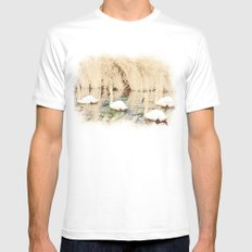 Swans White Mens Fitted Tee MEDIUM