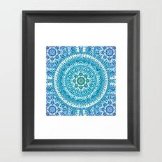 Aquamarine Mandala Pattern Framed Art Print