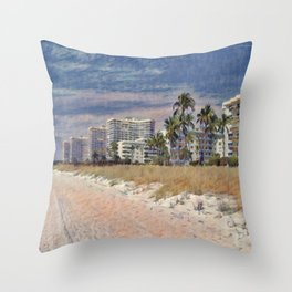 Marco Island, Florida South Seas Impressionist Painting Throw Pillow