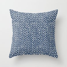 Hand Knit Navy Throw Pillow