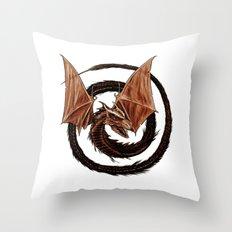 Spiral Dragon over Poenari Castle Throw Pillow