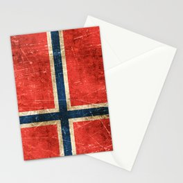Vintage Aged and Scratched Norwegian Flag Stationery Cards