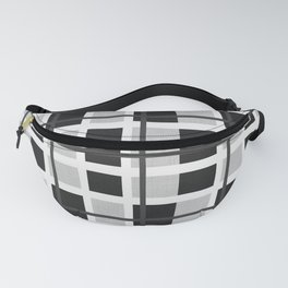 Black, White and Gray Plaid Pattern Fanny Pack