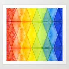 Geometrict Abstract Rainbow Watercolor Pattern Art Print