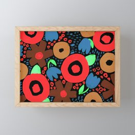 Bold Abstract Floral Inspired Pattern (Red, Ochre, Blue, Green, Brown) Framed Mini Art Print