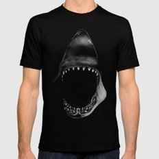 Shark Attack Mens Fitted Tee Black LARGE