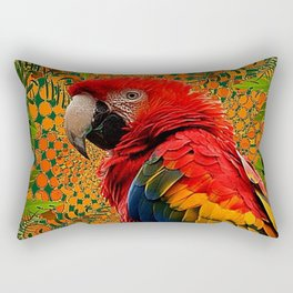 RED JUNGLE MACAW PATTERN ABSTRACT Rectangular Pillow