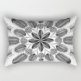 Trilobite and Fossil Mandala, Collage using Ernst Haeckel illustrations Rectangular Pillow