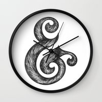 ampersand Wall Clocks featuring Ampersand by Norman Duenas