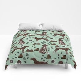 German Shorthair Pointer mountain hiking hiker outdoors camping dog breed Comforters