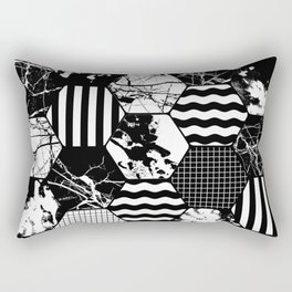 Hexual - Black and white, honeycomb, hexagon pattern, stripes, paint splats, grid and marble Rectangular Pillow