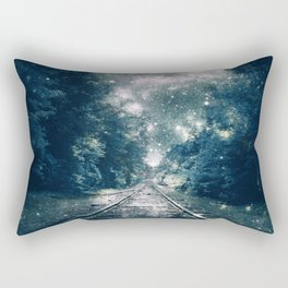 "Dream Train Tracks Teal : ""Next Stop, Anywhere"" Rectangular Pillow"