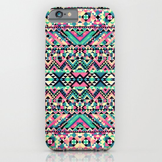 Pink Turquoise Girly Aztec Andes Tribal Pattern iPhone & iPod Case
