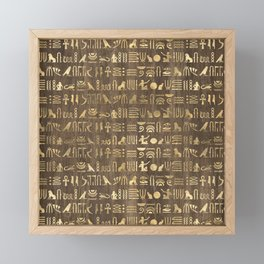 Brown & Gold Ancient Egyptian Hieroglyphic Script Framed Mini Art Print