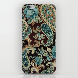 Brown Turquoise Paisley iPhone Skin