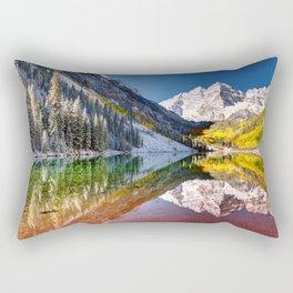 OLena Art Maroon Bells And Maroon Lake Near Aspen Colordo Rectangular Pillow