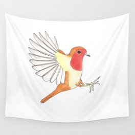 Robin In Flight Wall Tapestry